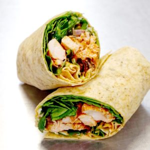 Buffalo Spinach Chicken Caesar Wrap